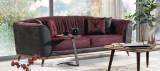 Canapea tapitata cu stofa, 3 locuri, cu functie sleep pentru 1 persoana Toscana Burgundy K1, l240xA98xH85 cm