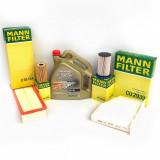 Pachet revizie filtre Mann ulei Castrol Edge 5w-30 BMW seria F30/F31 316d 116 cp, Mann-Filter