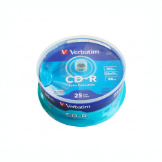 CD-R Verbatim, 700 MB, 52x, 25 bucati/bulk in cake box