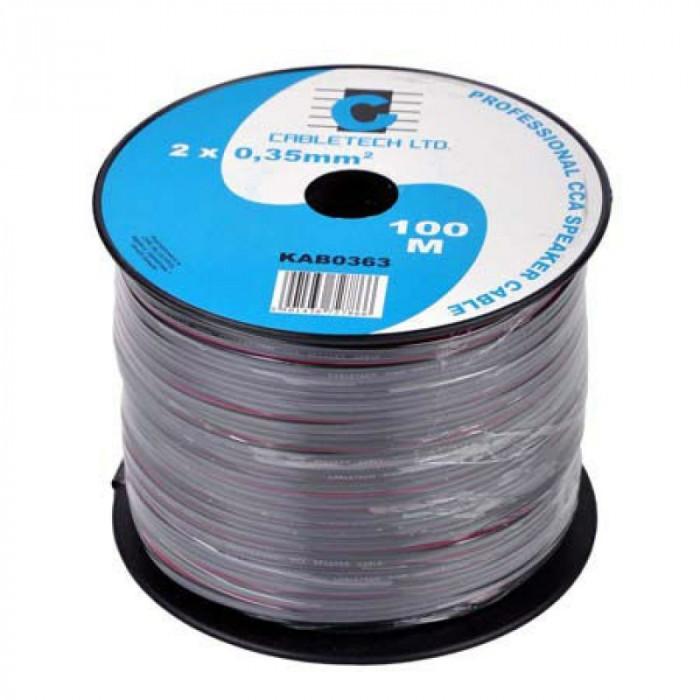 Cablu difuzor Cabletech, 100 m, 2 x 0.35 mm, Negru