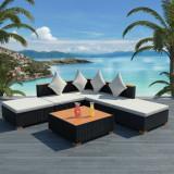 VidaXL Set mobilier de grădină cu perne, 6 piese, negru, poliratan