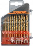 Set 13 burghie pentru metal din titan HSS 1.5 mm-6.5 mm STHOR