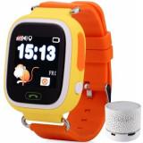 Ceas Smartwatch cu GPS Copii iUni Kid100, Touchscreen, Bluetooth, Telefon incorporat, Buton SOS, Portocaliu + Boxa Cadou