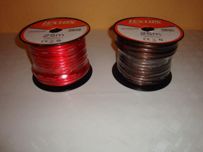 Rola cablu putere subwoofer sectiune 8mm 6GA rosu lungime 25m