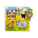 Primul meu puzzle 4 animale domestice, 20 x 20 cm, 12 luni+, Bigjigs