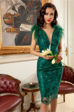 Rochie MBG verde de seara cu paiete si fulgi la umeri