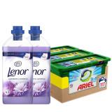 Cumpara ieftin Pachet Ariel Pods 117 spalari si Lenor Moonlight Harmony Lavanda 2x63 spalari
