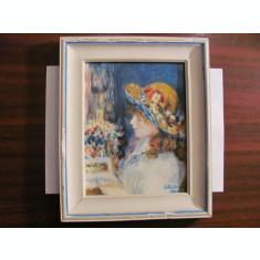 """PVM - Tablou """"Portret Domnisoara Citind"""" ulei / panza semnat E. Mateescu 1989"""