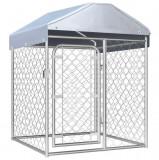 Padoc pentru câini de exterior, cu acoperiș, 100 x 100 x 125 cm