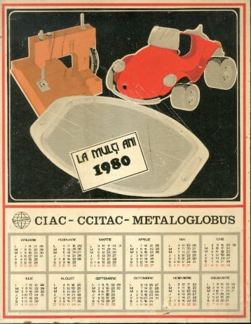 Calendar La multi ani 1980 metalic emailat CIAC CCITAC METALOGLOBUS a4+