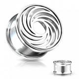 Plug de oțel în culoarea argintie - linii în formă de vârtej, cu decupaj rotund în centru - Lățime: 10 mm