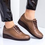 Pantofi dama piele naturala maro casual Denoli