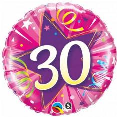Balon 30 ani roz din folie metalizata 43cm