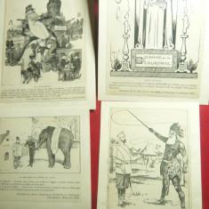 Set 13 Caricaturi de epoca -Politica Franceza sfarsit sec.XIX-inc.secXX