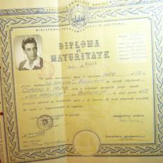 Diploma de Maturitate la Scoala Medie Ion Neculce Bucuresti 1959