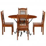 Set cu masă, 5 piese, lemn masiv de acacia, finisaj de sheesham