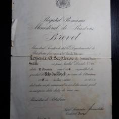 BREVET - MINISTERUL DE RAZBOIU - INAINTARE IN GRAD SUBLOCOTENENT VETERINAR 1932
