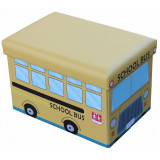 Taburet cu spatiu depozitare 48 x 32 x 32 cm, imprimeu School bus