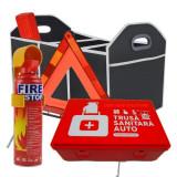 Pachet RAR: Trusa medicala auto + Stingator auto + Triunghi + Organizator portbagaj