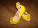 Pantofi de dama, piele naturala, Nr 38, galbeni, ca si noi, JANNI& JANNI, Galben, Cu toc