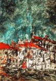 Vergil Cojocaru - Case in ploaie , tehnica mixta pe carton dur , 70 x 50 cm ., Peisaje, Ulei, Altul