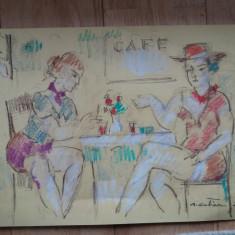 Augustin COSTINESCU,Sueta,desen, Portrete, Pastel, Impresionism