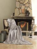 Cuvertura canapea din bumbac, Linen Maro / Alb, 170 x 220 cm