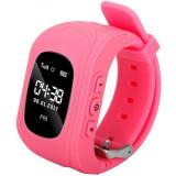 Ceas Smartwatch copii GPS Tracker iUni Q50, Telefon incorporat, Apel SOS, Roz