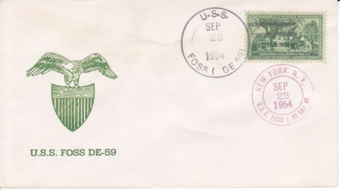 Stampila navala, marina militara SUA 22 SEP 1954, distrugatorul USS Foss DE-59