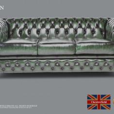 Canapea din piele naturală-Verde antique-3 locuri-Autentic Chesterfield Brand