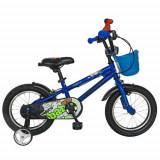 Cumpara ieftin Bicicleta Copii VELORS V1201A, Roti 12inch, cadru otel, roti ajutatoare (Albastru/Negru)
