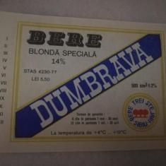 Eticheta bere Romania - DUMBRAVA-  Sibiu !