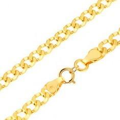 Brăţară din aur 585 - zale ovale decorate cu mici găuri, 200 mm