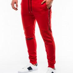 Pantaloni barbati, de trening, rosu, slim fit, sport, street, model nou - P743