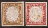 Italy Sardinia 1855 King Viktor Emanuel II, 10c brown, 40c carmine, MNG AM.078, Nestampilat
