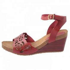 Sandale dama, din piele naturala, marca KicKers, 609620-05-134, rosu , marime: 41