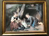 Litografie germana cu copii
