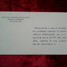 Invitatie expozitie:  Adrian Podoleanu 1981