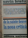 De La Sainte-beuve La Noua Critica - Savin Bratu ,308381