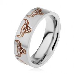 Inel argintiu din oțel cu suprafață mată, capete de tauri, 6 mm - Marime inel: 57
