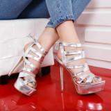Sandale Muslino argintii cu toc si platforma