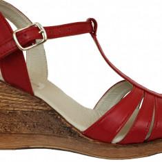 Sandale dama rosii cu talpa ortopedica Ninna Art 134