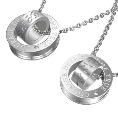 Pandantive cuplu - inele argintii, cu linii curbate și inscripție foto
