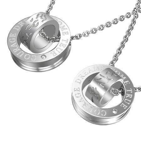 Pandantive cuplu - inele argintii, cu linii curbate și inscripție