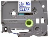 Banda continua laminata Brother TZE133 12mm 8m Albastru pe Transparent