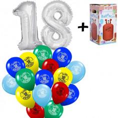 """Pachet majorat """"18"""", 2 folii argintii+30 latex multi + 1 butelie heliu - 2018108"""