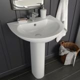 Cumpara ieftin Chiuvetă de baie cu piedestal, alb, 520x440x190 mm, ceramică
