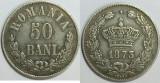 ROMANIA - 50 Bani 1873 . Argint . Destul de rara in aceasta stare. Superba !
