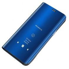 Husa Tip Carte Mirror Samsung Galaxy S7 Edge Albastra Cu Folie Silicon Upzz Inclusa