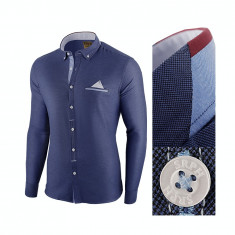 Camasa pentru barbati, bleumarin, slim fit - Leon Classic, 3XL, L, M, S, XL, XXL, Maneca lunga